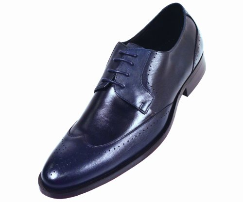 Steven Land Footwear Collection Mens Navy Classic Wingtip Style with Perforation Detailing on Toe Genuine Leather Oxford Dress Shoe: Style SL7184 Navy-002 12 D (M) US