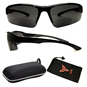 (#RCXXBF-SP Blk1.75) Bifocal Sport Safety Glasses UV Protection Reading Glasses Sun Readers + Case ( These Are Bifocal Sunglasses )