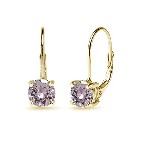 (Yellow Gold Flashed Sterling Silver Pink Round-cut Leverback Earrings Made with Swarovski Crystals)