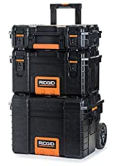 RIDGID Professional Tool Storage Cart And Organizer Stack includes the lower tool box cart with extended handle and all terrain wheels. The middle box allows for additional storage to more tools and accessories organized. And the upper tool b...