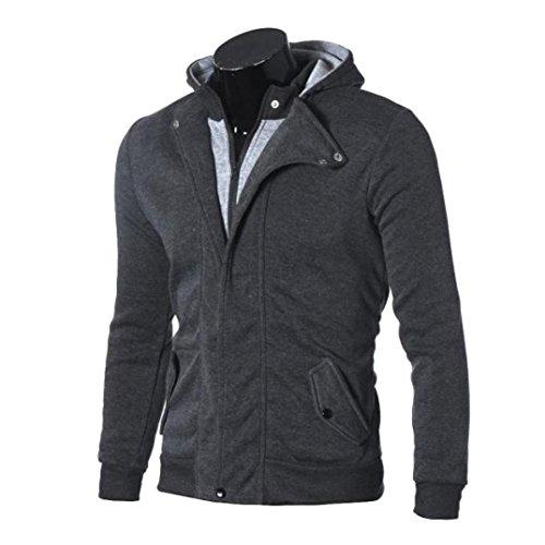 Men's Coat,Leegor Casual Warm Hooded Zipper Sweatshirt Cotton Jacket Coat Outwear (2XL, Dark Gray)