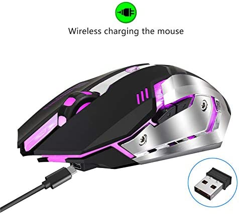 Rechargeable 7-Color Illuminated Mouse. Wireless 2400DPI Backlit Breathing Mouse BAIYI Gaming Mouse