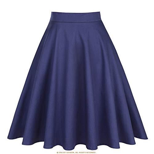 Skirt Womens Sexy Summer Skirt Floral Polka Dots Plus Size High Waist Plaid Women Skirt,Solid Navy Blue,XXL -