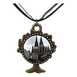 Chicforest Bronze Retro Style Cathedral and Ludwig Museum Cologne Germany The Tree Of Life And Wishing Pendant