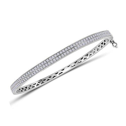 14kt White Gold Womens Round Diamond Double Row Bangle Bracelet 1.00 Cttw (Row Bangle Diamonds Double)