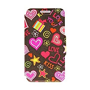 PEACH-My Heart Will Go on Pattern PU Leather Full Body Case with Stand for Samsung Galaxy S4 I9500
