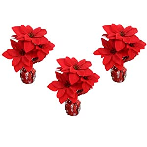 Artificial Red Poinsettias (8 Inches) in Red with Snowflakes Foil Pots, Set of 3 for Banquet Centerpieces, Table Top Flowers, Party Favors, Hospital, Nursing Home Gifts, Home, Office Decorations 13