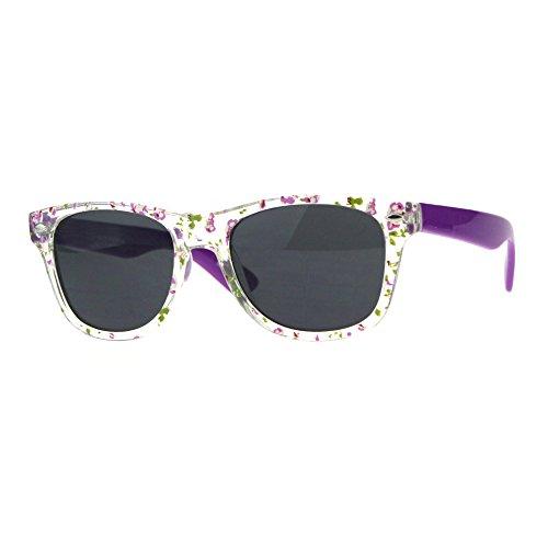 Kids Girls Hipster Horned Rim Flower Print Plastic Sunglasses - Glasses With Girls Hipster