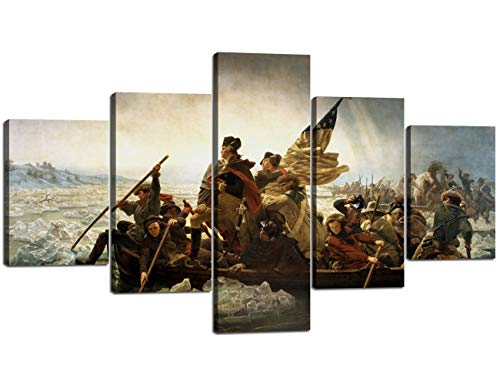 (Yan Quan Washington's Crossing The Revolutionary War Poster Painting Canvas Wall Art Famous Art Reproduction - 50''Wx24''H)