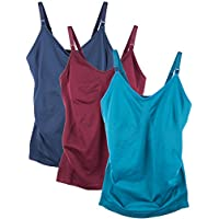 Caramel Cantina 3 Pack Women's Nursing Cami Built In Bra (S/Medium, Winter)