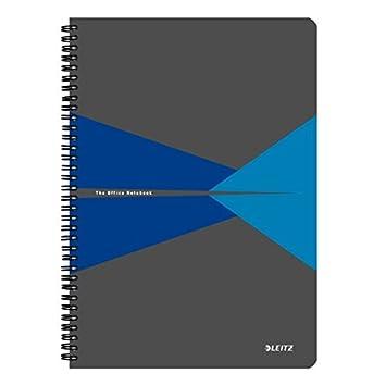 Office 90 p/áginas Encuadernaci/ón Wiro con tapas PP Azul 44950035 Con cuadr/ícula Leitz Cuaderno A4