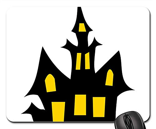 (Mouse Pads - Haunted House Halloween Building Dark Black)