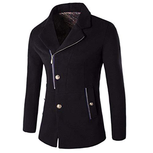 Schwarz Tasche Con Fashion Risvolto Cerniera Manica Laterali Giacche Lunga Hx Uomo Essenziale Giacca Capispalla Cappotto ZPw611q4