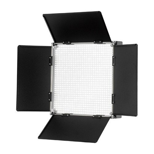 Fotodiox Pro LED 1000AVL with Barndoor and LCD Display for Still and Video, with Dimmable Switch, 12V AC Power Adapter, Light Stand bracket and Carrying Case, Color Temperature 5600K by Fotodiox
