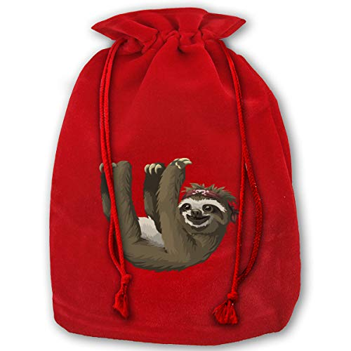 DSFGG Bags, Sloth Gold Velvet Santa Sack for Xmas Party Favors, Grocery/Wrapping Storage Bags for Kids (Candy Sloth Shaped)