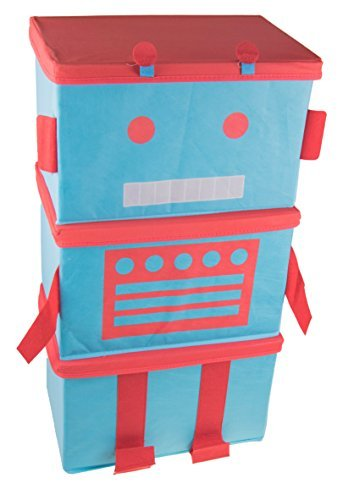 Robot 3 Piece Stacking Collapsibe Organizer Set Blue and Red [並行輸入品] B01NCRB5Z6