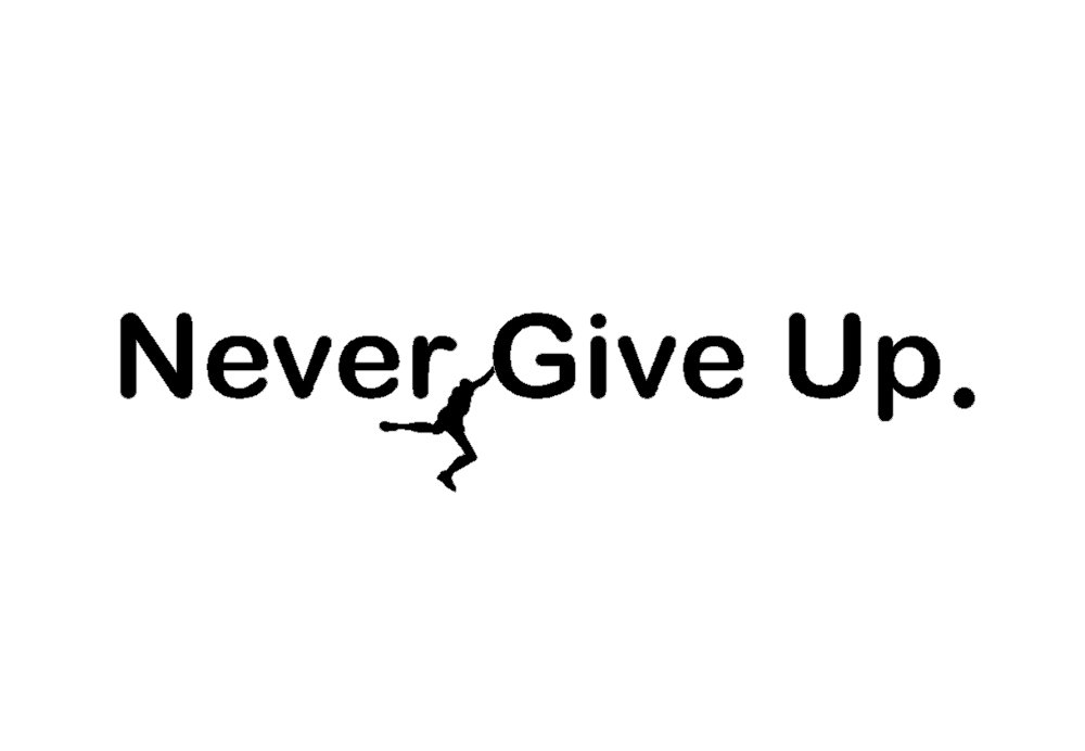 BERRYZILLA Never GIVE UP Decal Over The Door Locker Room Motivational Decor Art Wall Home Room Living Office Stickers Decoration