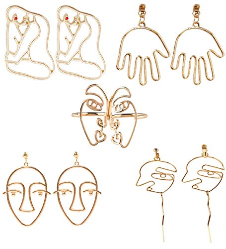 Mrotrida Abstract Face Earrings Unique Art Face Outline Hand Drop Earring Big Statement Earrings and Face Rings 5 Pair/Set for Women's Party ()