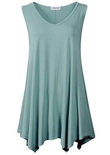 (LARACE Women V-Neck Tank Top Tunic for Leggings(2X, Grayish Green))