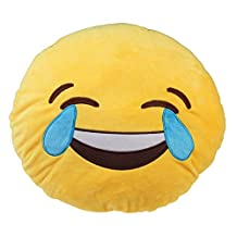 WinnerEco Cute Emoticon Yellow Round Cushion Pillow Stuffed Plush Toy (Laugh to tears)