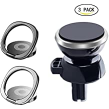 Phone Ring Holder,360° Rotation Universal Mobile Phone Finger Ring Stand Grip (phone ring & Magnetic phone car mount)