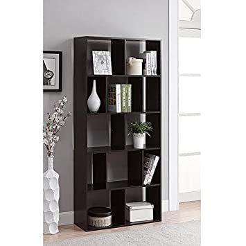 Wall-leaning Bookcase in Espresso Finish with 12 Cubby Shelves – Not Recommended As Room Divider – Includes Safety Hooks to Hold the Bookshelf Securely Against the Wall