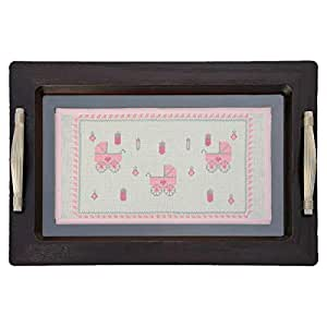 Turathna DCO 072-Pink Baby Girl Wooden Tray - 3 Strollers Handmade Cross Stitch - 1 Piece