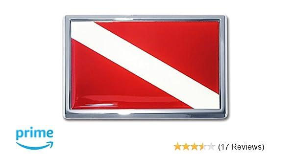 Dive Flag Diver Scuba Diving Car Chrome Emblem 3D Decal Sticker