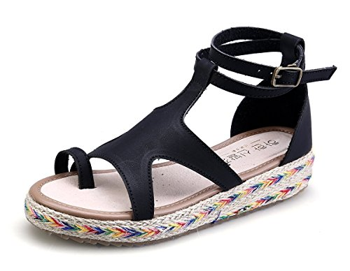 Sandales Été Römisch Taille Minetom Grande Femme Tongs Vacances Plateforme Boucle Mode Schuhe Spartiates Ouvert Noir Flache Plate Flops Bout Flip Espadrilles 6qZqwd