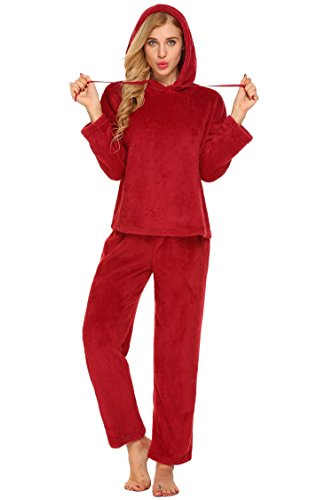 Vansop Women's Long Sleeve Pajama Top & Plush Micro Fleece Pants Sleepwear Set(Dark Red (Micro Fleece Plush Pants)
