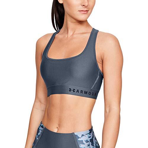 Under Armour Women's Armour Mid Crossback Sports Bra, Downpour Gray (044)/Black, Small (Under Armour Heatgear Sports Bra High Impact)