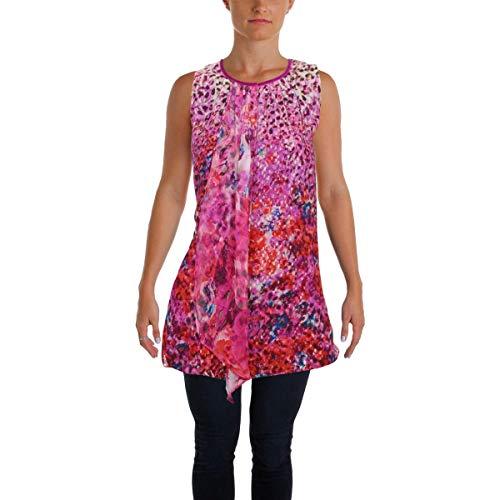 Metallic Silk Blouse - Elie Tahari Womens Hilda Metallic Silk Blouse Pink L