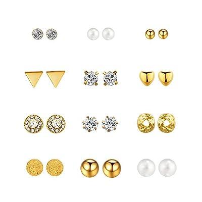 Boosic 6/12 Pair Dainty Crystal Pearl Earring Set Ear Stud Jewelry Gift For Women