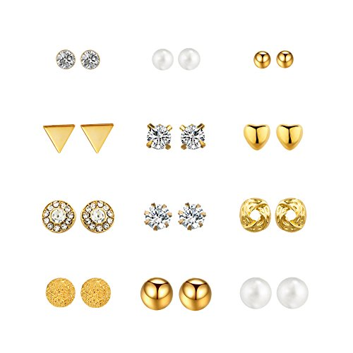 Gold Plated Set Stud - Engravery Gold Plated Environmentally-Friendly Alloy Stainless Steel Post 12 Pairs of Different Styling Fashion Stud Earrings Set