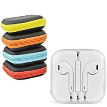 Apple Earpods Headphone Headset Earphone For IPhone 5 5s 6s Plus  MD827ZM/B  Eith High Quality Protective Cover (Light Blue )