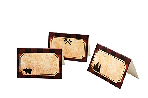 BCHOCKS Lumberjack Party Place Cards - Lumberjack Buffalo Plaid Food Tents and Food Labels Decorations, Woodland Baby Shower Party Supplies