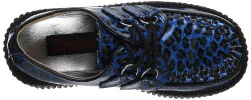 Demonia - Zapatos oxford mujer Blue Cheetah Gltr Pat