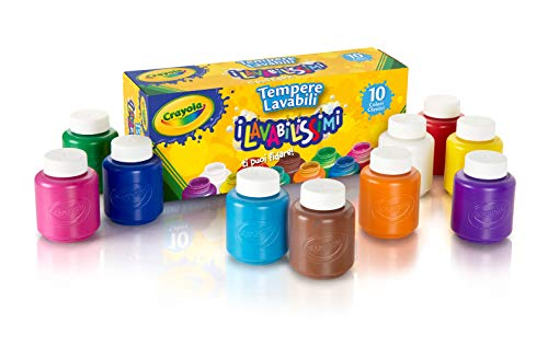Brush Tempera Paint Tube - Crayola Washable Kids' Paint, Assorted Colors 10 ea