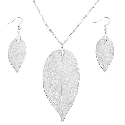 Leaf Pendant Necklace and Dangle Earrings Jewelry Set Rose Gold Plated Hypoallergenic Fashion Long Chain Necklace with Silver Earrings Hanging-Style Gifts for Women (Silver -