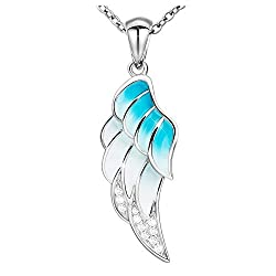 Light Blue and White Coloring Zirconia Stones Wing Sterling Silver Pendant