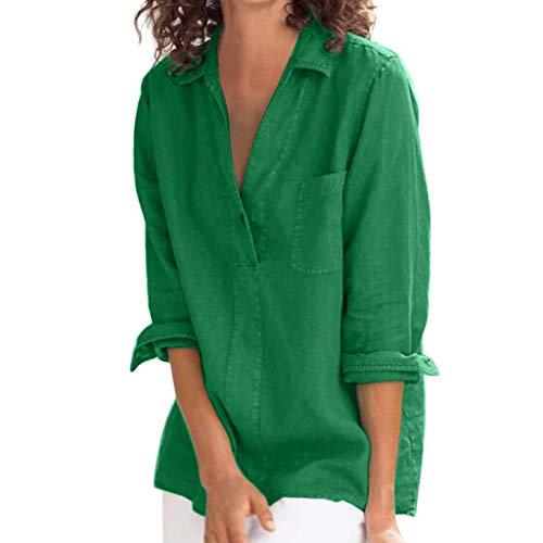 (〓COOlCCI〓Women Linen Blouse Shirt Roll-Up Sleeve Tops V Neck 3/4 Roll Sleeve Half Sleeve Shirts Tunic Tops with Pocket Green)
