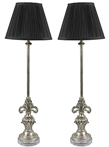 Urbanest Set of 2 William Buffet Lamps, Antique Silver with Black Pleated Shades, 27-inch Tall ()