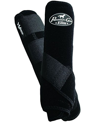 (Professionals Choice Equine Sports Medicine Ventech Elite Rear Leg Boot, Pair (Medium, Black))