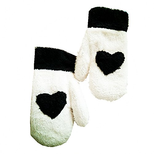Cute Winter Women's Furry Gloves Mitten by Einfachheit (white+black heart)