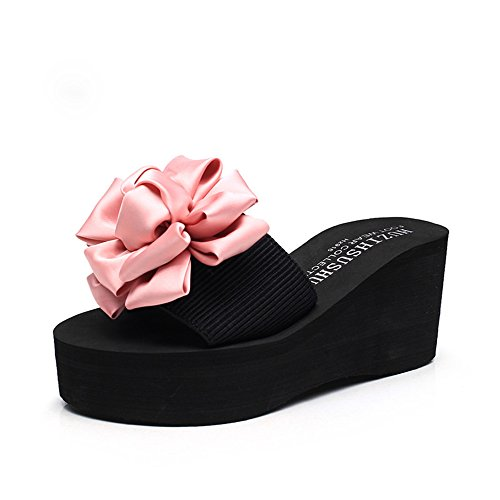 FEI Chanclas 7cm -multi-color tacones altos Zapatillas femeninas del verano Zapatos de tacón alto de la playa Forme las sandalias para 18-40 años Antidérapant (Color : Beige-7cm, Tamaño : 42) Pink-7cm