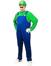 Luigi Mens Super Mario Brothers Fancy Dress Up Party Costume + Hat + Moustache (M)