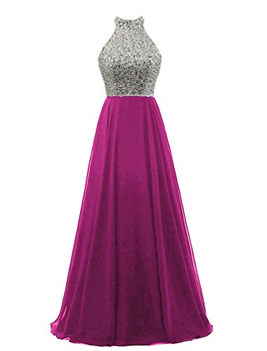 HEIMO Women's Sequined Keyhole Back Evening Party Gowns Beaded Formal Prom Dresses...