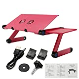 Aluminium Alloy 360 Adjustable Folding Computer Laptop Desk with Cooling Fans Laptop Stand Holder Lapdesks for Notebook PC
