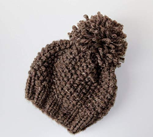 - Knitted Beanie Hat with Pom Pom (Adult). Handmade in Barley Chunky, Wool Yarn