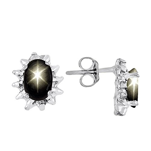 Diamond & Black Star Sapphire Earrings Sterling Silver or 14K Yellow Gold Plated Silver ()